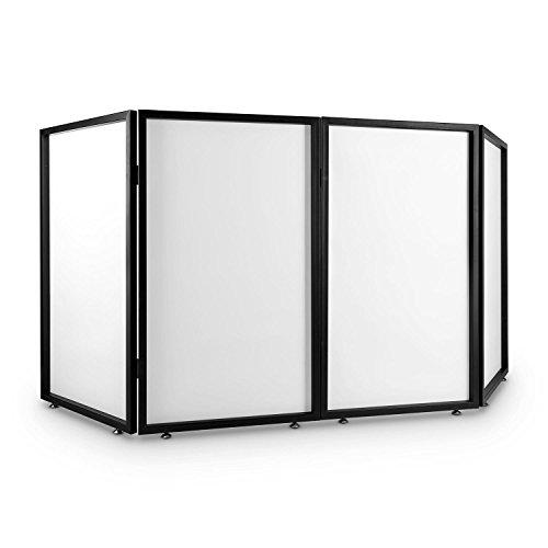 Frontstage Facade 4 Pannello Dj (paravento, Telaio Metallico 4 segmenti da 70x120x3 cm, Tessuto translucido, Cerniere in Metallo, Piedi Regolabili)