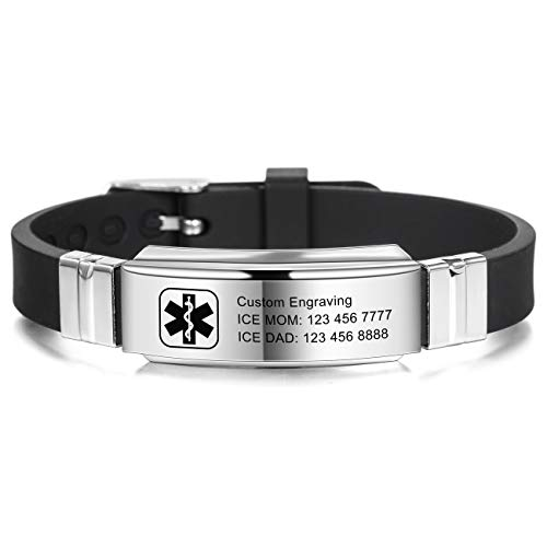 MOWOM Medical Bracelet Custom Engraved Silicone Adjustable Sport ID Identification Alert for Men Women Kids Stainless Steel - Bundle with Emergency Card, Holder (Black, Custom Engraving*)