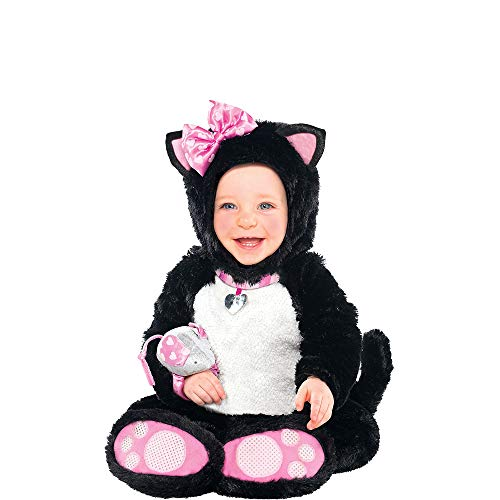 Amscan 846787 Baby Itty Bitty Kitty Costume - Cat Costume 12-24 Months Old, Black/White