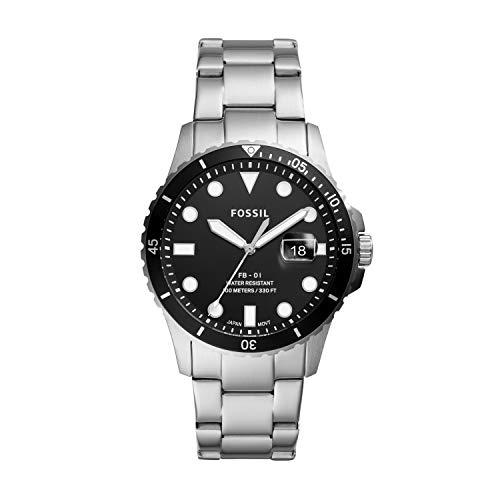 Fossil Herren Analog Quarz Uhr mit Edelstahl Armband FS5652