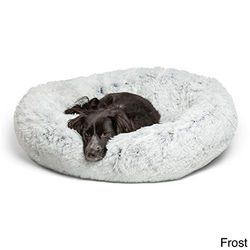 Best Friends by Sheri Calming Shag Vegan Fur Donut Cuddler (36x36, Zippered')  Large Round Donut Cat and Dog Cushion Bed, Removable Shell, Warming and Cozy for Improved Sleep - For Pets Up to 100 lbs