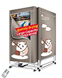 KASYDoFF Clothes Dryer Portable 3-Tier 1.7 Meters Foldable Clothes Drying Rack Energy Saving (Anion) Clothing Dryers Digital Automatic Timer with Remote Control for Apartment House