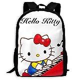 Mei-shop Mochila Informal Pianist Kitty Print Cremallera Mochila Escolar Mochila de Viaje Mochila
