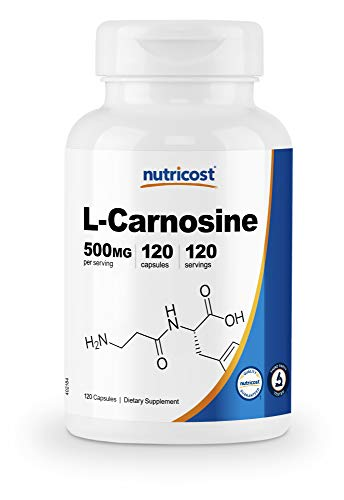 Nutricost L-Carnosine 500mg, 120 Capsules - Veggie Capsules, Non-GMO, Gluten Free, Muscle Function & Strengthening