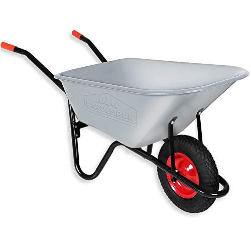 Gardebruk Schubkarre 100 Liter bis 250kg Luftreifen mit Stahlfelge verzinkt Bauschubkarre Gartenschubkarre