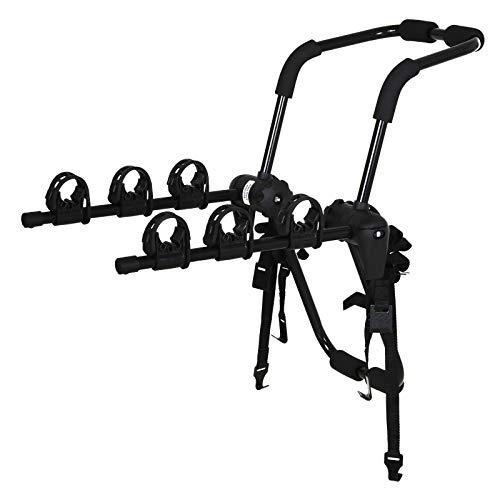 homcom Portabici Posteriore per Auto, Portapacchi Pieghevole in Acciaio per 3 Biciclette (Max 45 kg), 83 x 52 x 59 cm