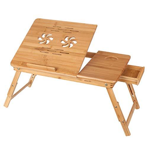 HOMFA Mesa para Ordenador portátil Mesa de cama Bambú Mesa auxiliar con cajón lateral 55x35x(22-30)cm