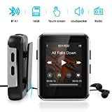 Kingbox Mp3 Player with Bluetooth, Music Player with Clip Supports Full Touch Screen, Built-in Speaker, HiFi Lossless Mp3 Music Players with FM Radio, Voice Recorder (16GB, Up to 128GB)