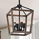 Alynzee 4-Light Rustic Chandelier, Metal Vintage Hanging Lantern Pendant Light Fixture with Oil Rubbed Bronze Finish, Farmhouse Chandeliers for Kitchen Island Living Dining Room Foyer Kitchen