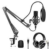 Neewer USBマイクキット 192KHz/24Bit プラグ&プレイ カーディオイドコンデンサーマイク モニターヘッドフォン、フォームキャップ、アームスタンド、ショックマウント付き カラオケ/YouTube/ゲームレコード/ポッドキャスト/歌唱などに適用