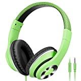 AUSDOM Lightweight Over-Ear Wired HiFi Stereo Headphones with Built-in Mic Comfortable Leather...