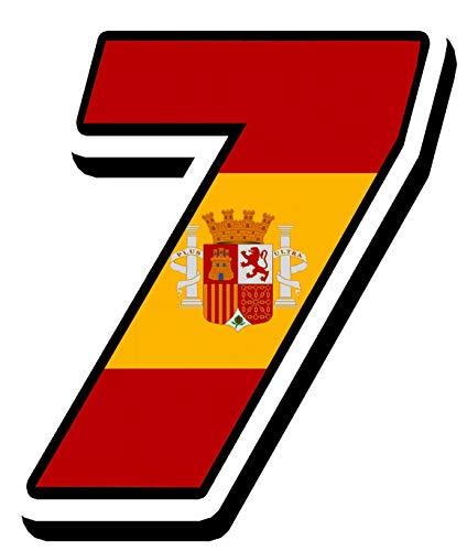 Biomar Labs® Número 7 Bandera Nacional España Spain Calavera Vinilo Adhesivo Pegatina Coche Auto Motocross Moto Sport Start Racing Tuning N 287