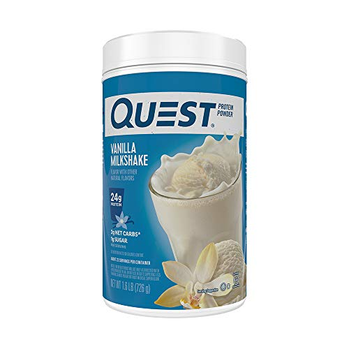 Quest Nutrition Vanilla Milkshake Protein Powder, High Protein, Low Carb, Gluten Free, Soy Free, Net Wt 1lb (726 g) (Pack of 1)