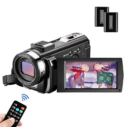 MELCAM Videocamera Youtube Vlogging, Camcorder FHD 1080P 24MP 30FPS 3.0' LCD Schermo Ruotabile 270°, Zoom Digitale 16X Webcam con Telecomando e 2 Batteries