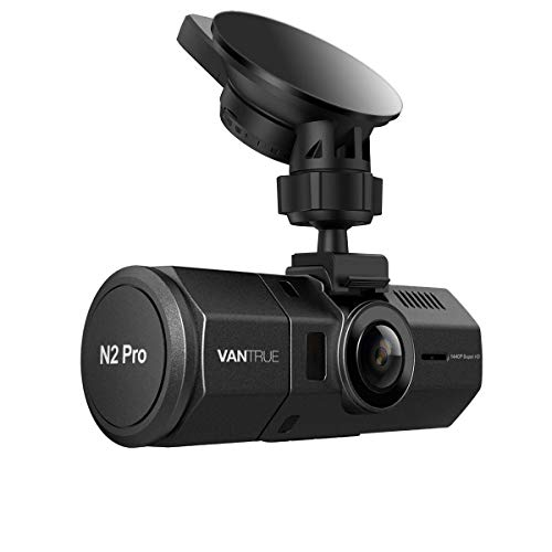 VANTRUE N2 PRO Dual Dash Cam, Doppia Lente Telecamera per Auto Full HD 1080P, Obiettivo Grandangolare di 170 Gradi, Visione Notturna, Rilevatore di Movimento Registrazione in Loop G-Sensor e 2,7' LCD