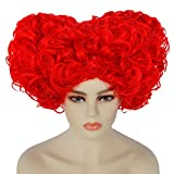 Anogol Hair Cap+Red Queen Wig Short Curly Wigs for Anime Synthetic Hair for Queen Costume