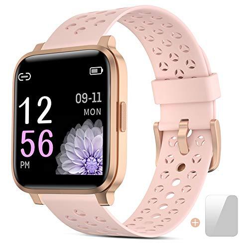 Smartwatch Donna - Orologio Intelligente Uomo Fitness Tracker, Smart Watch Impermeabile Cardiofrequenzimetro da Pedometro Smartband Sportivo Activity Watches per Android iOS Xiaomi Huawei