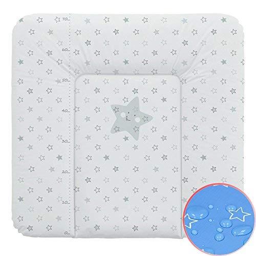 Wickelauflage Wickelunterlage Wickeltischauflage 70x75 cm Abwaschbar - Grau Sterne 70 x 75 cm