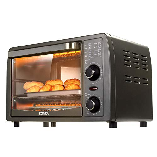 Toaster Oven 4 Slice Multi-function Natural Convection 1050 Watts Includes Baking Pan and Tray Clamp by KONKA KAO-13T1(WA)