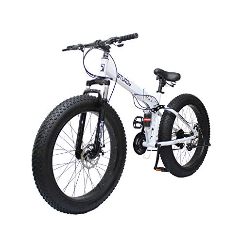 STURDY BIKES Foldable Fat Mountain Bike with 26X4 Inch Tyres and 21 Speed Gears for Adults (White)