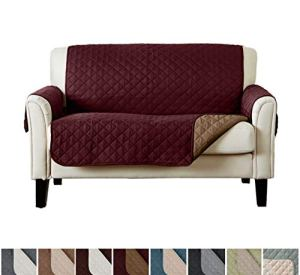 Home Fashion Designs Reversible Loveseat Protector. Furniture Protector for Living Room with Secure Straps. Furniture Protectors for Kids, Dogs and Pets. (Love Seat, Burgundy/Taupe)