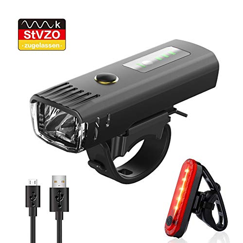 Pezimu Fahrradlicht LED Set - USB Wiederaufladbare Frontlicht Rücklicht Wasserdicht Fahrradlichter Fahrradbeleuchtung - StVZO Zugelassen