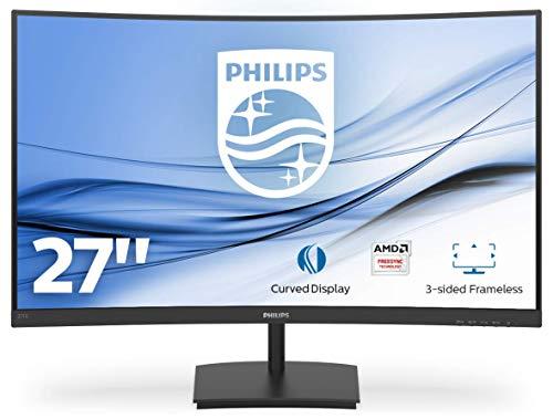 Philips Monitor Gaming 271E1SCA Monitor, Adaptive Sync 75 Hz, VA LED 27', 1920 x 1080 FHD, 4 ms, HDMI, VGA, Casse Integrate, Flicker Free, Low Blue Light, VESA, Nero