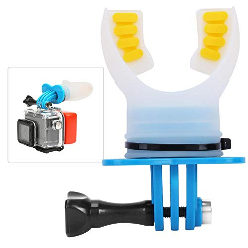 Topiky Mouth Bite Mount Mouthpiece Holder Adaptor Surfing Diving Pattinaggio con Cordino Galleggiante e Collo per Gopro Hero 7/6/5/4/3/3 + per SJCAM per XiaoYi Action Camera(Blu)