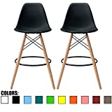 2xhome Set of 2 Black 25' Seat Height DSW Molded Plastic Bar Stool Modern Barstool Counter Stools with Back Armless Natural Wood Eiffel Dowel Legs Kitchen Shell Mid Century