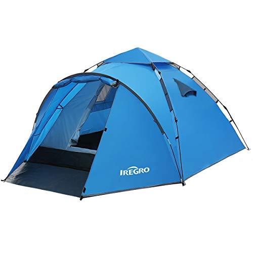 IREGRO Wurfzelt Pop Up Zelt 3-4 Personen automatisches Campingzelt Familienzelt Tunnelzelt Kuppelzelt Sekundenzelt Schnellaufbau für Camping Wandern Reisen Strand
