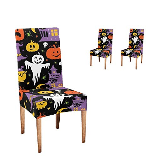 Anneunique CUXWEOT Chair Covers for Dining Room,Custom Halloween Ghost Pumpkin Protector Comfort Soft Seat Covers Slipcovers for Party Decor (Set of 2)