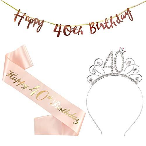 40 Compleanno Fascia Oro Rosa 40 Anni di Compleanno Donna Tiara Birthday Corona per Compleanno 40 Coroncina di Compleanno Happy Birthday Banner Decorazioni Accessori per Compleanno Ragazza