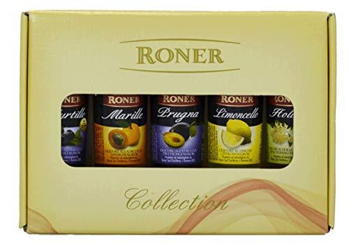 Roner Set Liquori Mignon (5x 0,04l) - Marille, Prugna, Limoncello, Myrtillo, Holler Sambo Distilleria Artigianale Alto Adige Sdtirol piu premiata d'Italia - 200 ml