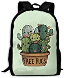 TTmom Mochilas Tipo Casual,Bolsa de Viaje Cactus Free Hugs Unisex Backpack Shoulder Bag School Backpack Travel Bags Laptop Backpack