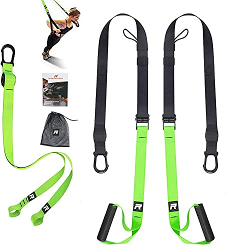 RHINOSPORT Suspension Training Set with Adjustable Door Anchor for Home Gymnastics Suitable for Travel and Indoor and Outdoor Training
