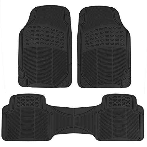 BDK ProLiner Original 3pc Heavy Duty Front & Rear Rubber Floor Mats for Car SUV Van & Truck, All Weather Protection Universal Fit