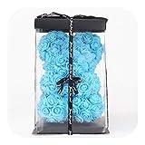 Générique Fleurs artificielles Blanc, Bricolage Jour de 25 cm Ours Rose Jardinière Valentine Petite Amie Femmes mère épouse de Cadeaux, Set Bleu
