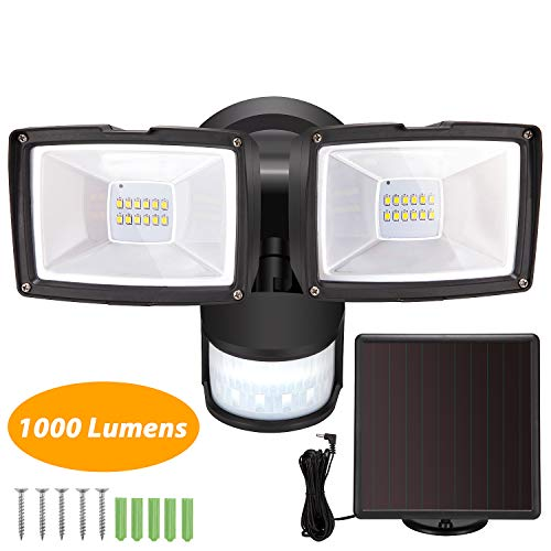 Solar Motion Sensor Lights - SUNWIND 1000 Lumen LED Security Light Solar Powered Adjustable Dual Head Flood Light Waterproof for Entryways, Patio, Yard Front Door, Garage