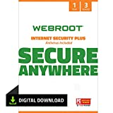 Webroot Internet Security Plus with Antivirus Software 2021 - 3 Device - Includes Android, IOS and Password Manager Encryption, 1 Year (PC Download)