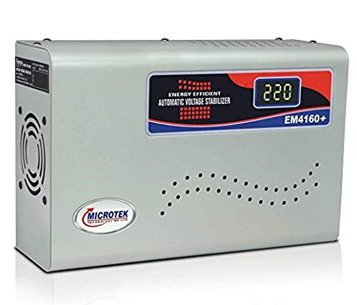 MICROTEK EM4160+ Automatic Voltage Stabilizer Digital Display, Wall Mounted for AC up to 1.5 ton...