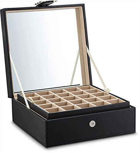 Product Image 8: Glenor Co Classic 50 Slot Jewelry Box Earring Organizer with Large Mirror, Black