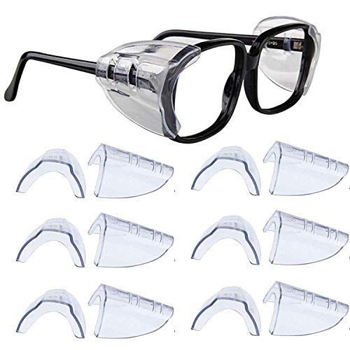 Kwartz 6 Pair Safety Eye Glasses Side Shields Clear Flexible Slip On Shield Fits Small to Medium Eyeglasses