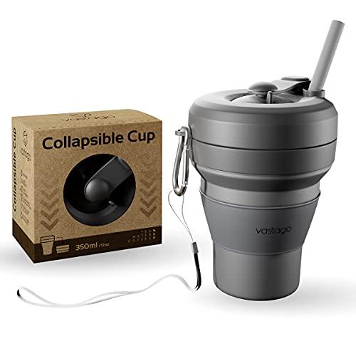 vastago Tasse à café pliable en silicone - Gobelet avec paille et...