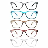 Fetrrc Reading Glasses Blue Light Blocking, Computer Readers for Women/Men, Anti Glare/Fatigue Clear Fashion Square Eyeglasses 5 Pairs ( Mix Colors, 2.0 )