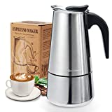 Godmorn Stovetop Espresso Maker, Moka Pot, Percolator Italian Coffee Maker, 300ml/10oz/6 cup (espresso cup=50ml), Classic Cafe Maker, stainless steel , suitable for induction cookers