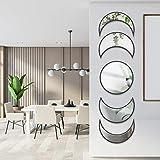 5 Piece Moon Phase Mirror, Scandinavian Natural Decor Wall Mirror Bohemian Wall-Mounted Mirrors,...