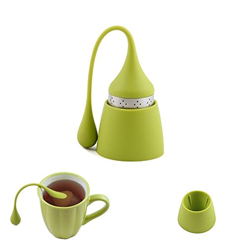 iNeibo Teesieb aus Rostfreiem Edelstahl und Lebensmittel Silikon, hübsches Teeei mit dem Auffangbehälter für lose Tee (1 Set/Grün)
