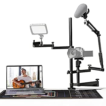 Integriertes Design: Dieser Streaming-Desktop-Ständer verfügt über 3 verstellbare Arme für Kamera, Videolicht und Mikrofon. Sie können Video, Ton und Fülllicht gleichzeitig in einem Youtube- oder Tiktok-Streaming aufnehmen. Platz sparen: Dieses Strea...