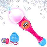 ArtCreativity Light Up Bubble Blower Wand - 13.5 Inch Illuminating Bubble Blower Wand with Thrilling LED Effect for Kids - Bubble Fluid and Batteries Included - Great Gift Idea, Party Favor - Pink