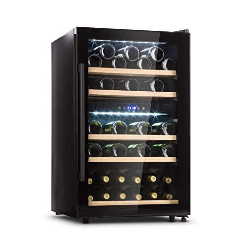 KLARSTEIN Barossa - Cantinetta Vini, Refrigeratore Vini con Porta in Vetro, Vetrina Vino, 5-18 C, Display LCD, Illuminazione Interna a LED, Controllo Touch, Nero, 135 L, 41 Bottiglie